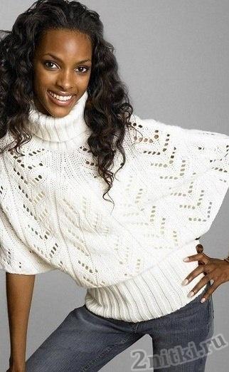 Элегантный пуловер-пончо