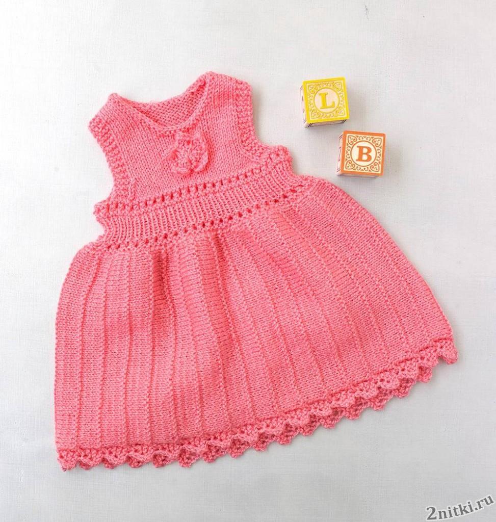 Вязаное платье с розочкой