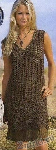 Коричневое ажурное платье