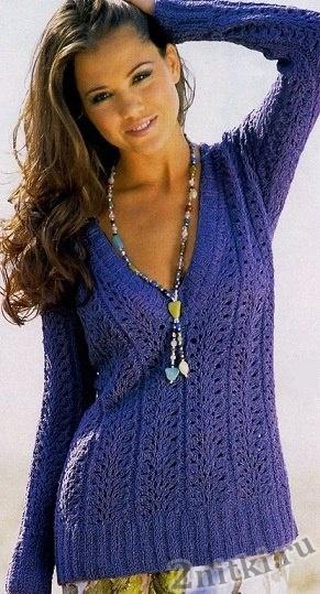 Ажурный пуловер с V-образным вырезом