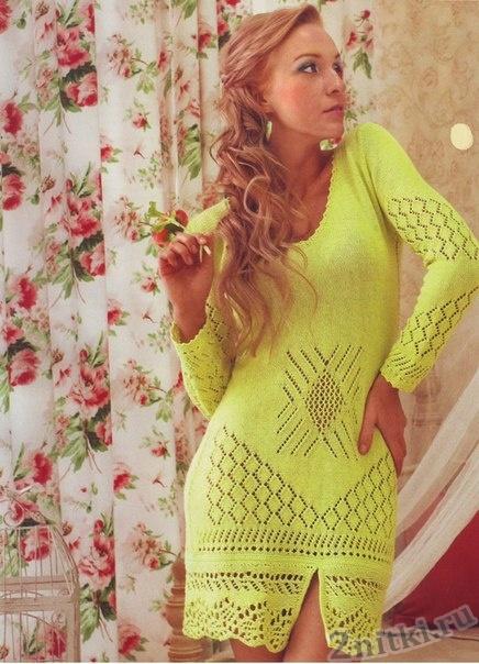 Яркое ажурное платье