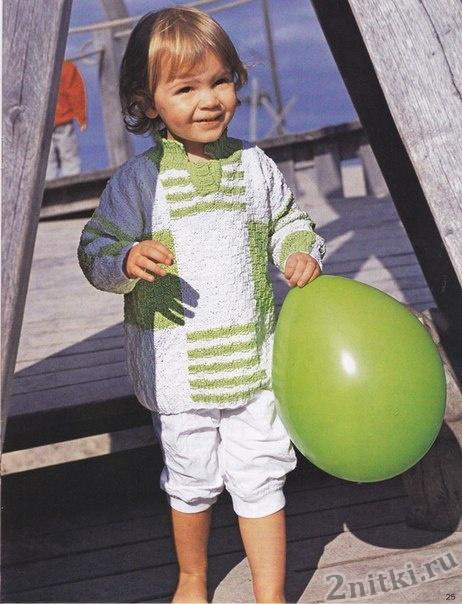 Бело-зеленый пуловер