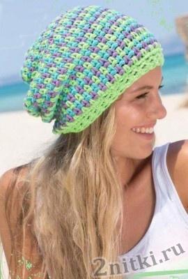 Разноцветная шапка бини