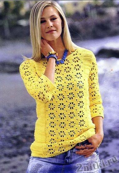 Полосатый пуловер с кружевным узором