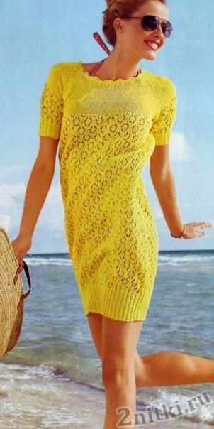 Пляжное ажурное платье спицами