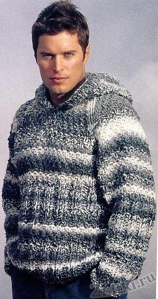 Мужской пуловер из меланжевой