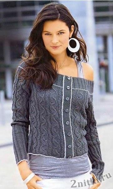 Пуловер с вырезом «Кармен»