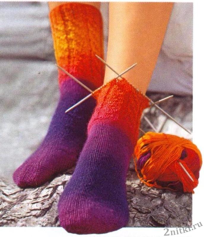 спицами носки от мыска схемы фото при