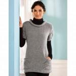 Пуловер с ажурными карманами и рукавами