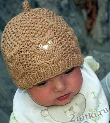 Детская шапочка спицами с