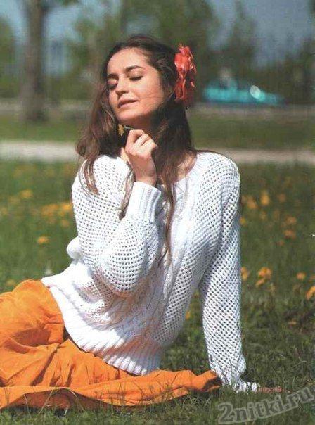 Ажурный белый пуловер
