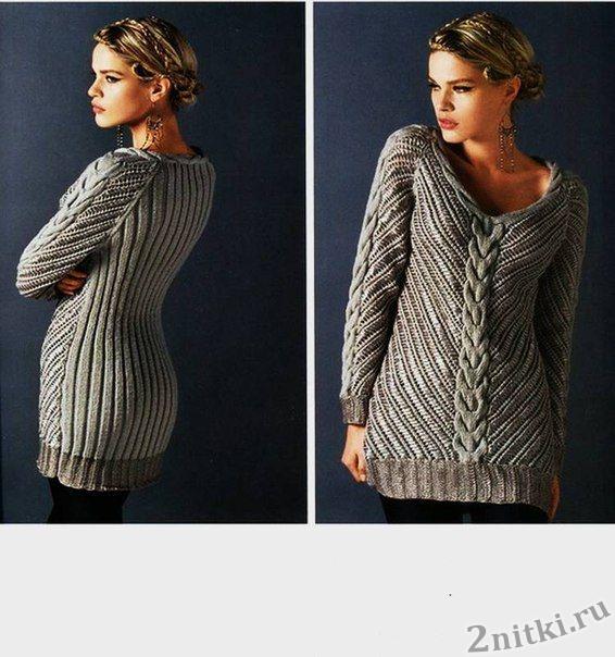 Пуловер из двух видов пряжи