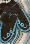 Варежки с голубыми вставками