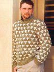 Двухцветный мужской пуловер крючком