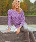 Пуловер из ажурного узора с косами