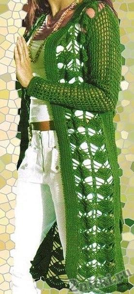Ажурный кардиган зеленого цвета