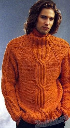Яркий пуловер реглан с косами