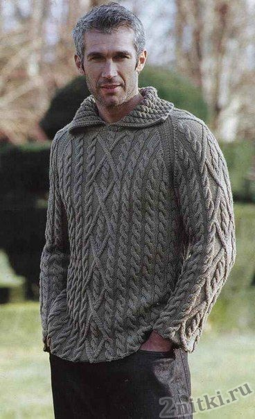 Мужской пуловер с воротником