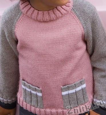 Детский пуловер с карманами