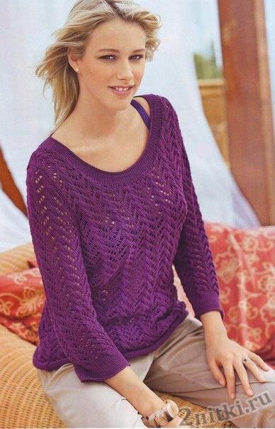 Ажурный пуловер лилового цвета