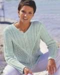 Вязаный ажурный свитер цвета мяты