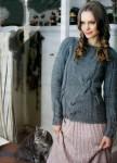 Пуловер с широкой кокеткой и крупными косами