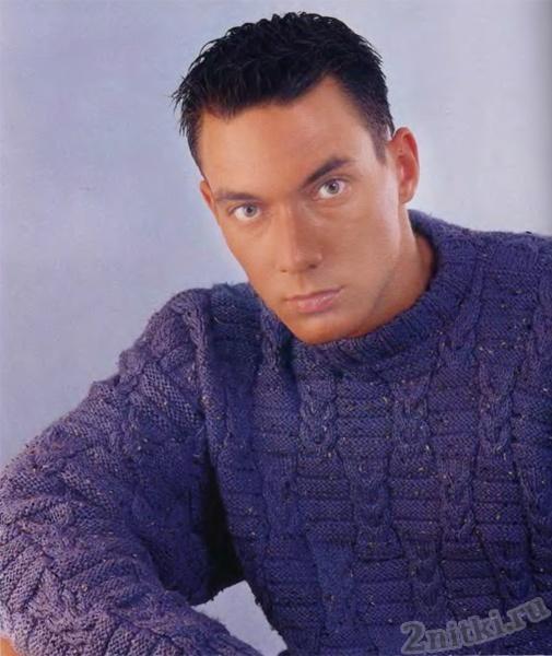 Вязаный мужской фиолетовый пуловер в крапинку