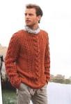 Пуловер с косами терракотового цвета