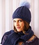 Комплект: шарф и шапка с меховым помпоном