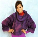 Вязаный поперек пуловер