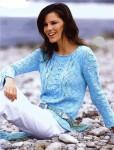 Меланжевый пуловер с узорными полосами