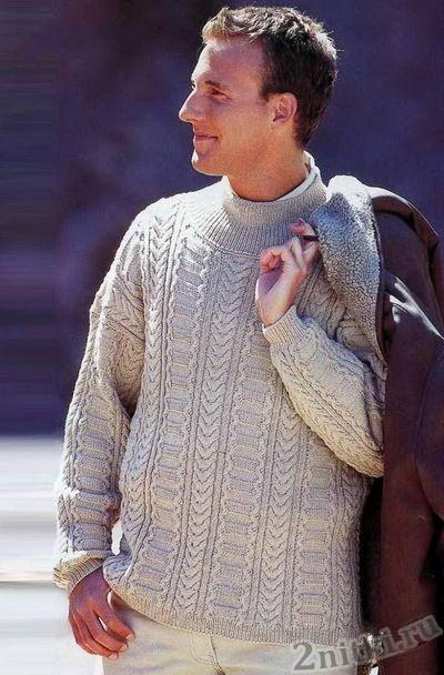 Мужской пуловер с дорожками из кос