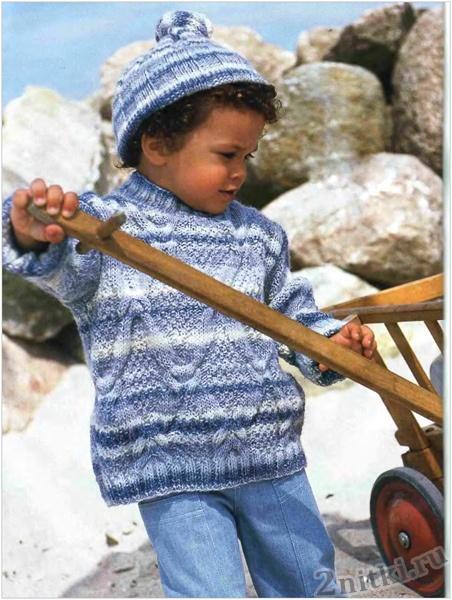Детский вязаный меланжевый пуловер с косами и шапка