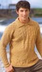 Вязаный узорчатый пуловер с отложным воротником
