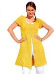 Жёлтый жакет связанный спицами