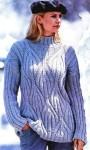 Серый меланжевый пуловер с рельефным узором