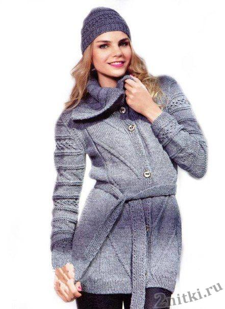 Пальто и шапочка связанные спицами