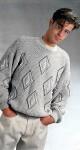 Мужской вязаный пуловер с узором рельефные ромбы