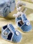Голубые вязаные сандалии