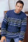 Пуловер с жаккардовыми полосами и косами