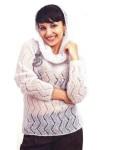 Нежный серый пуловер из мохера