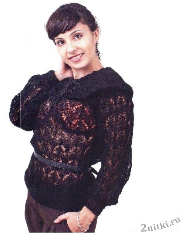 Пуловер связан из тонкого кид-мохера фирмы ализе. . Сложный ажур в программе KS-4 150