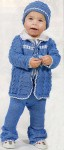 Синий комплект шапочка, кофта, платье и штанишки
