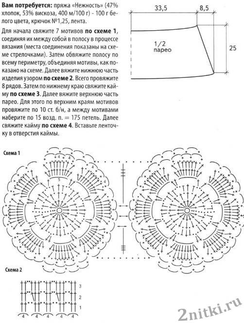 Парео вязанные крючком со схемами ажурные