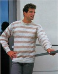 Мужской пуловер рельефными квадратами