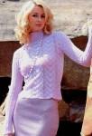 Сиренево-розовый пуловер с вырезом на спине