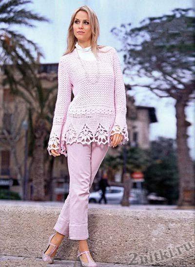 Пуловер с ажурной каймой