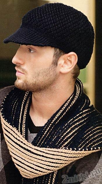 Кепи и шарф для мужчины вязаные спицами