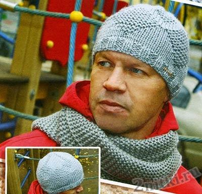 Стильная шапка с узором из ромбов