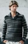 Простой пуловер из меланжевой пряжи